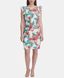 Tommy Hilfiger Ruffle-Shoulder Floral Sheath Dress