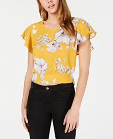 BCX Juniors' Printed Tie-Back Blouse