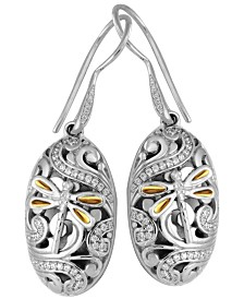 Sweet Dragonfly Classic Sterling Silver Earrings Embellished by 18K Gold Accents on 4 Strips of Dragonfly's Wings and White Cubic Zirconia