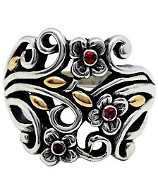 Secret Garden Blossom Sterling Silver Ring Embellished by 18K Gold and Garnet