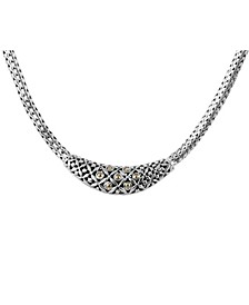 """The Eclipse Classic Sterling Silver Necklace Embellished by 18K Gold Accents Dots with Dragon Bone Chain 18"""" Length"""