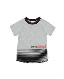 Raglan Sleeve Short T-Shirt with Contrast Hem