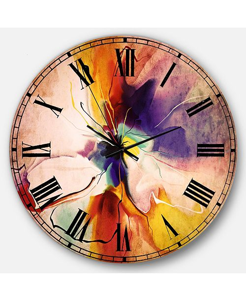 Design Art Designart Floral Oversized Round Metal Wall Clock