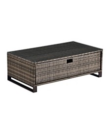 Tommy Hilfiger Oceanside Outdoor Coffee Table with Storage, Quick Ship