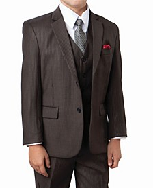 Tonal Stripe 2 Button Front Closure Suits Boys Suit, 5 Piece