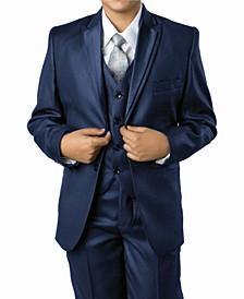 Solid Peak Lapel 2 Button Vested Boys Suit, 5 Piece