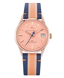 Santa Monica Blue, Light Pink and Pink Stripped Genuine Leather Watch