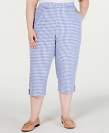 Alfred Dunner Plus Size The Summer Wind Cotton Printed Capri Pants