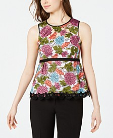 Sleeveless Embroidered Peplum Top, Created for Macy's