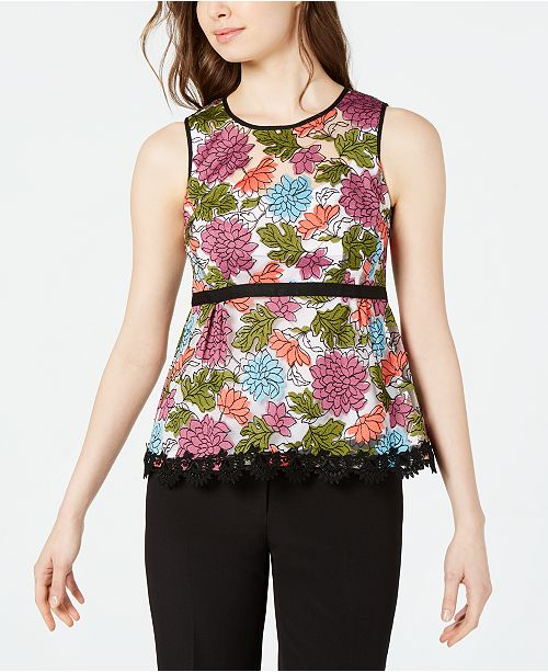 Nanette Lepore Sleeveless Embroidered Peplum Top, Created for Macy's