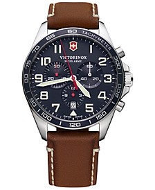 Men's Chronograph FieldForce Brown Leather Strap Watch 42mm