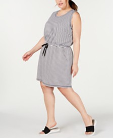 Ideology Plus Size Drawstring-Waist Dress, Created for Macy's