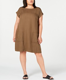 Eileen Fisher Plus-Size Boat-Neck Shift Dress