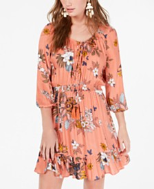 American Rag Juniors' Printed Lace-Up Peasant Dress, Created for Macy's