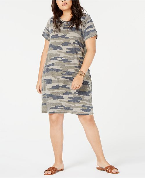 Lucky Brand Plus Size Camouflage T-Shirt Dress & Reviews ...