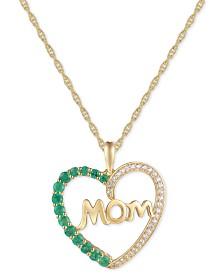 """Emerald (3/8 ct. t.w.) & Diamond (1/8 ct. t.w.) Mom 18"""" Pendant Necklace in 14k Gold"""