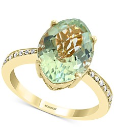 EFFY® Green Quartz (4-7/8 ct. t.w.) & Diamond (1/8 ct. t.w.) Ring in 14k Gold