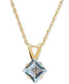 "Swiss Blue Topaz 18"" Pendant Necklace (5/8 ct. t.w.) in 14k Gold"