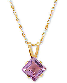 """Amethyst 18"""" Pendant Necklace (1 ct. t.w.) in 14k Gold"""