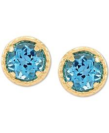 Blue Topaz Stud Earrings (2 ct. t.w.) in 14k Gold