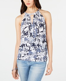 I.N.C. Printed Halter Top, Created for Macy's