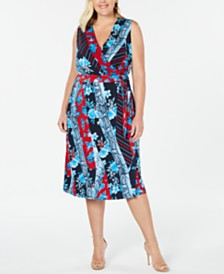 I.N.C. Plus Size Patchwork Wrap Midi Dress, Created for Macy's