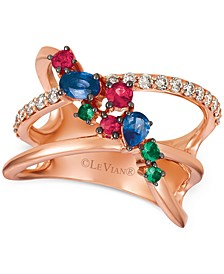 Multi-Gemstone (5/8 ct. t.w.) & Nude Diamonds (1/3 ct. t.w.) Statement Ring in 14k Rose Gold