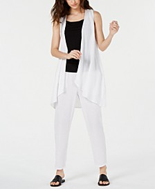 Organic Cotton Open-Front Vest & Crinkle Tapered Pants, Regular & Petite