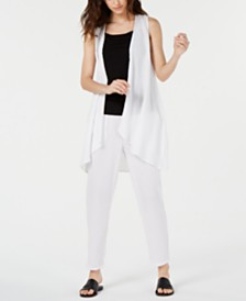 Eileen Fisher Organic Cotton Open-Front Vest & Crinkle Tapered Pants, Regular & Petite