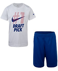 Nike Little Boys 2-Pc. #1 Draft Pick Dri-FIT Logo T-Shirt & Running Shorts Set