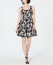 Petite Square-Neck Floral Fit & Flare Dress