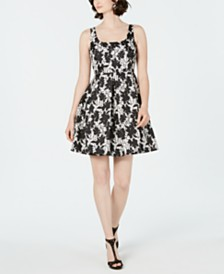 Taylor Petite Square-Neck Floral Fit & Flare Dress