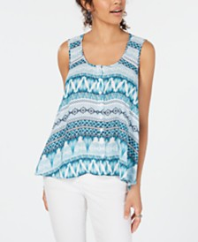 Style & Co Printed Swing Tank Top, Created for Macy's