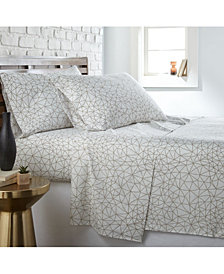 Southshore Fine Linens Geometric Maze 4 Piece Printed Sheet Set, Twin/Long