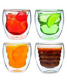 Curva Artisan Series Double Wall 8 oz Beverage Glasses - Set of 4