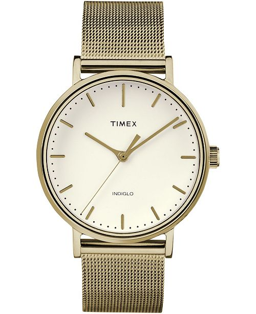 Timex Boutique Timex Fairfield 37mm White Dial Stainless Steel Gold Mesh Band Watch