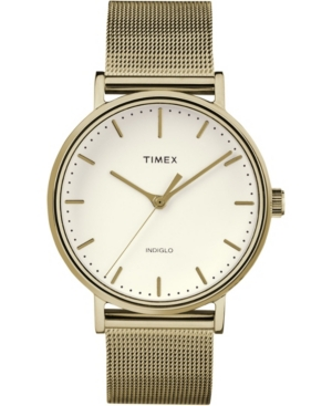 Timex Fairfield 37mm White Dial Stainless Steel Gold Mesh Band Watch