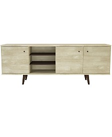 "3 Cabinet Mid-Century 71"" Wood TV Stand with Shelves"