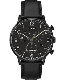 Timex Waterbury Classic Chronograph 40mm Black Dial Black Leather Strap Watch