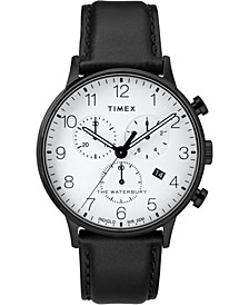 Timex Waterbury Classic Chronograph 40mm Black Case Black Leather Strap Watch