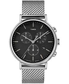Timex Fairfield Chronograph 41mm Black Dial Mesh Band Watch