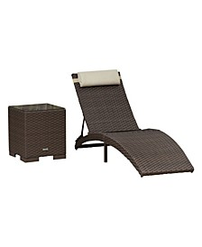 2 Piece Patio Folding Chaise Lounger