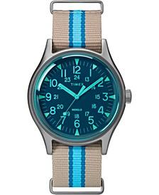 Timex MK1 Aluminum California 40mm Tan with Blue Stripe Fabric Strap Watch