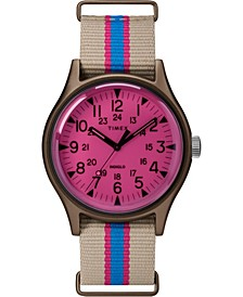 Timex MK1 Aluminum California 40mm Tan with Blue/Pink Stripe Fabric Strap Watch