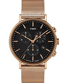 Fairfield Chronograph 41mm Black Dial Stainless Steel Rose Gold Mesh Band