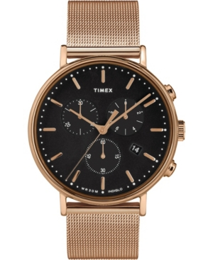 Timex Fairfield Chronograph 41mm Black Dial Stainless Steel Rose Gold Mesh Band