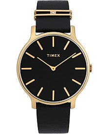 Timex Transcend 38mm Leather Strap Watch