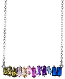 "Giani Bernini Cubic Zirconia Rainbow Baguette Horizontal Bar 18"" Pendant Necklace in Sterling Silver, Created for Macy's"