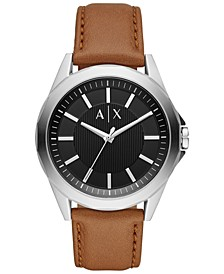 Men's Drexler Brown Leather Strap Watch 44mm