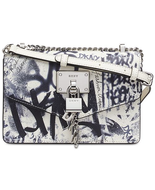 DKNY Elissa Graffiti Logo Leather Shoulder Bag, Created for Macy's